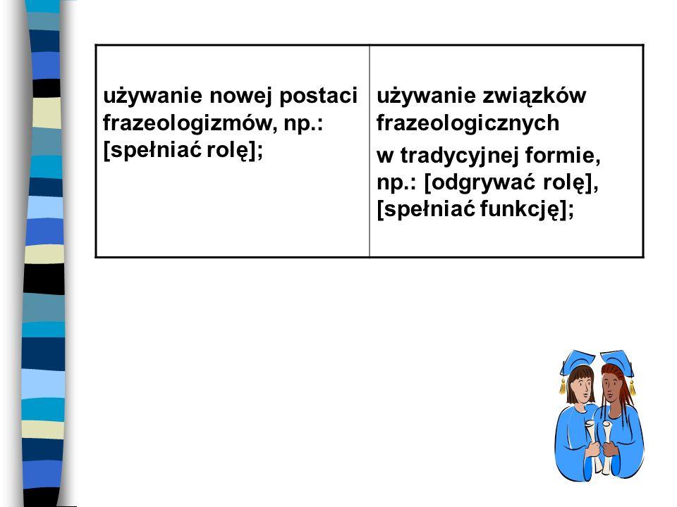 używanie nowej postaci frazeologizmów, np.: [spełniać rolę];